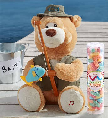 Animated 'Fishin' Flynn' Bear with Gummy Worms