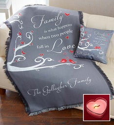 Personalized Love Pillow & Blanket with Candle