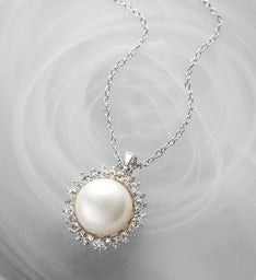 Freshwater Cultured Pearl & White Topaz Pendant