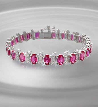 Sterling Silver Ruby and Diamond Tennis Bracelet