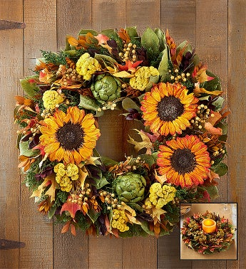 Preserved Fall Sunflower Wreath and Centerpiece