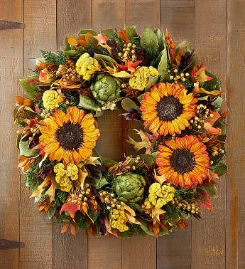 Preserved Golden Sunflower Wreath