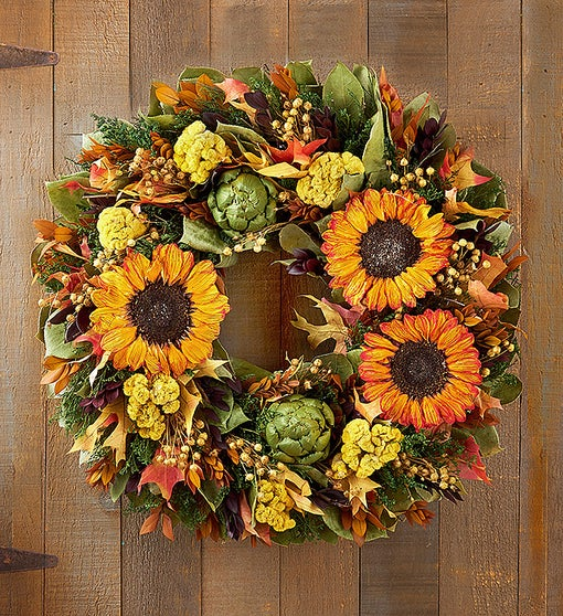 Preserved Autumn Sunflower Wreath & Centerpiece