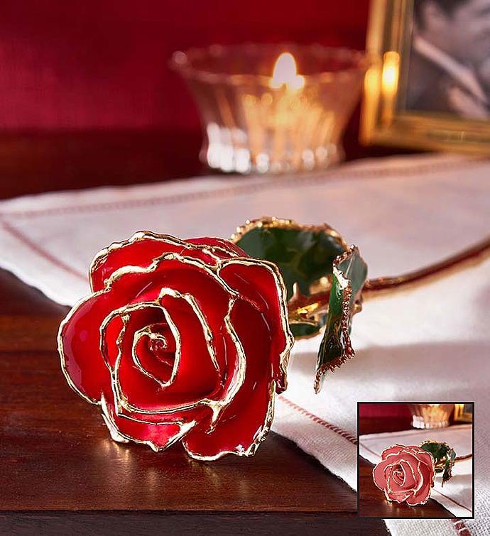 Enchanting Rose K Gold Dipped Red Or Pink