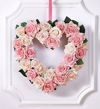 Keepsake Pink Rose Heart Shaped Wreath - 12
