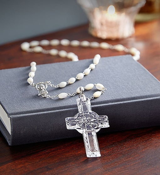 Waterford® Mother-of-Pearl and Crystal Rosary | 1800Flowers com