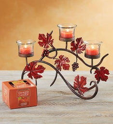 Fall Candelabra with Yankee Candle® Tealight Set