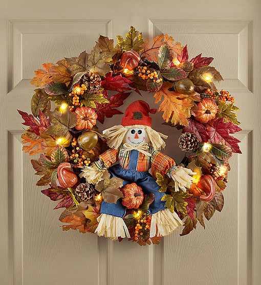 Light Up Scarecrow Welcome Wreath - 26