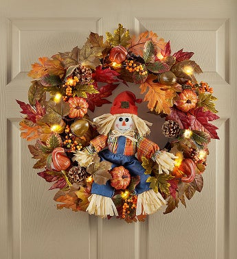 Light Up Scarecrow Welcome Wreath-26""