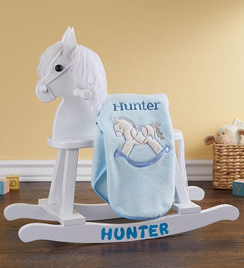 Personalized Rocking Horse Gift Set Personalized Rocking Horse with Blanket Blue