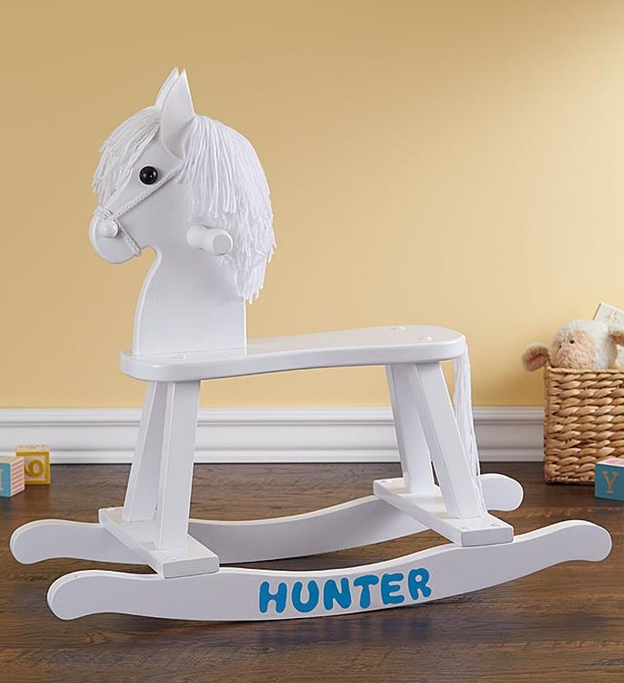 Personalized Rocking Horse Gift Set Personalized Rocking Horse Blue