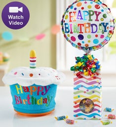 """3/"""" plush singing Happy Birthday Cupcake   New free gift wrapping see details."""