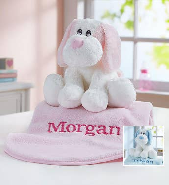 Personalized Puppy and Blanket- Pink or Blue