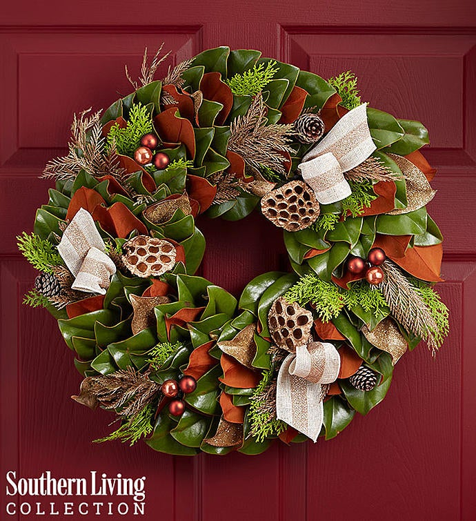 Southern Living® Preserved Magnolia Holiday Wreath – 20""