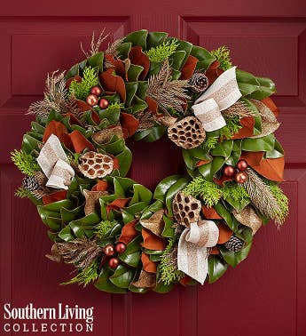 Southern Living Preserved Magnolia Holiday Wreath  20