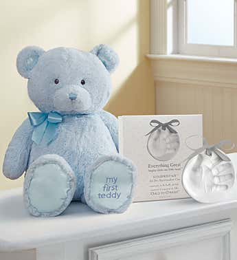 Blue My First Teddy by Gund® with Hand Print Kit