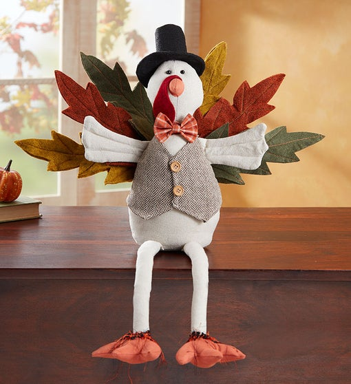 Festive Turkey Ledge Sitter