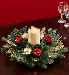 Shimmering Holiday Ornament Centerpiece and Wreath