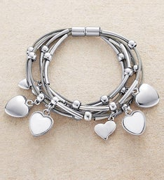 Magnetic Bracelet With Silver and Moonstone Hearts by Bayberry Road