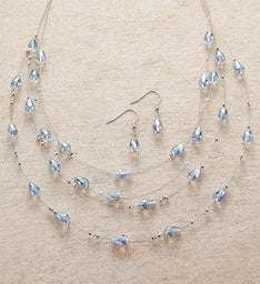 Silver Wire & Lavender Beaded Necklace and Earring Set by Bayberry Road