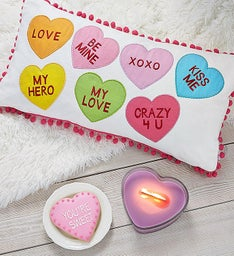 Conversation Hearts Pillow and Candle Home Decor