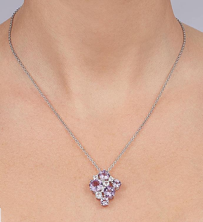 Amethyst  White Topaz Jewelry Set