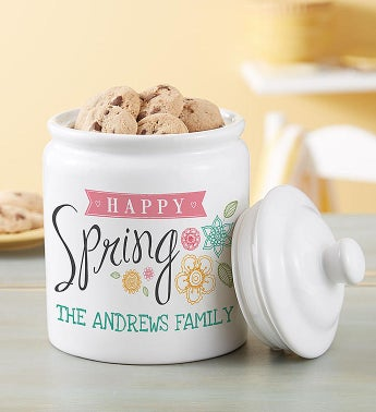 Personalized Spring Cookie Jar & Cookies