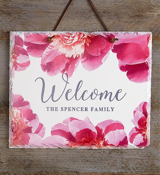 Personalized Peony Welcome Sign