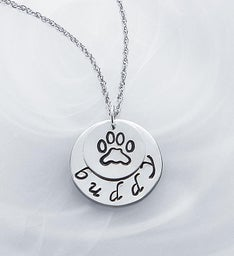 Personalized Paw Print Charm Necklace