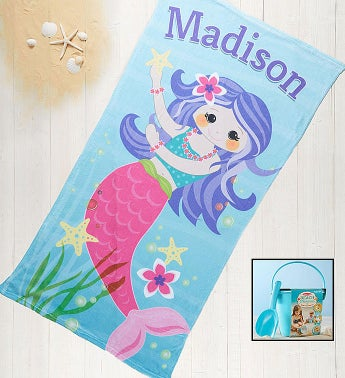 Personalized Mermaid Towel and Sand Memories Kit