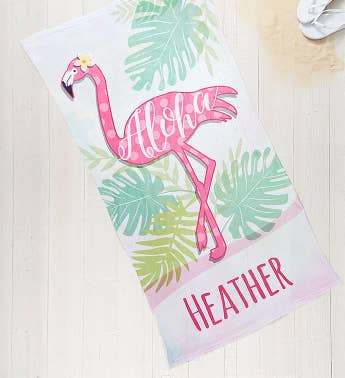 Personalized Flamingo Towel & Tote