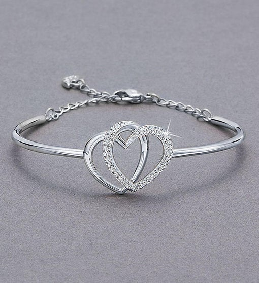 Swarovski® Interlocking Hearts Pendant & Bracelet