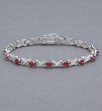 l y gold vg kt ea red full supper w bracelet ruby tennis item diamonds