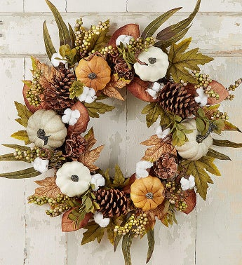 Autumn Elegance Pumpkin Wreath