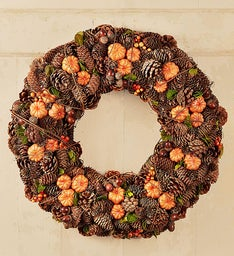 Fall Pumpkins and Pinecones Wreath - 22""