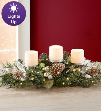 Winter Splendor Centerpiece With LED Candles