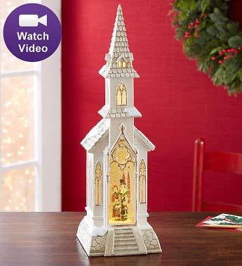Lighted Church With Swirling Glitter