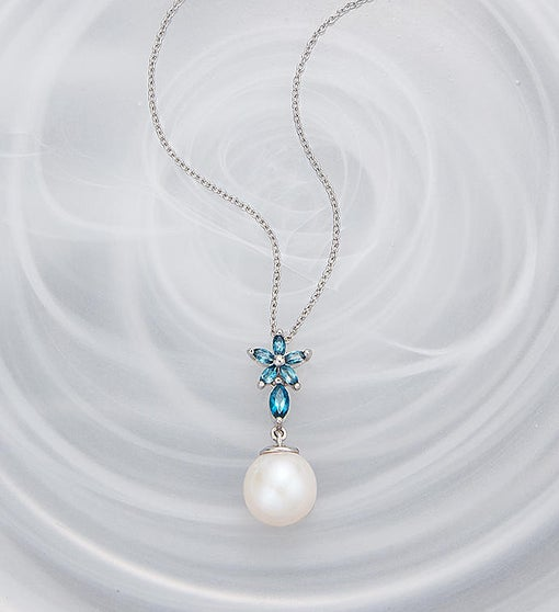 Blue Topaz And Pearl Necklace: Pearl And Blue Topaz Necklace From 1-800-FLOWERS.COM
