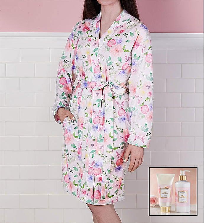 Floral Robe and Spa Gift Set Medium Robe and Spa Set