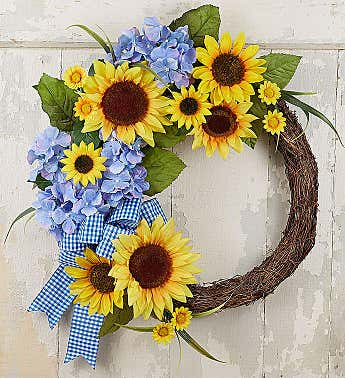 Keepsake Farmhouse Sunflower Wreath-18""
