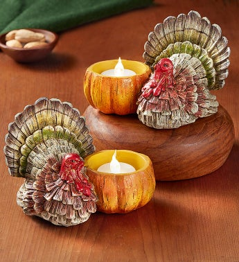 Thanksgiving Turkey Candle Duo with LED Tealights