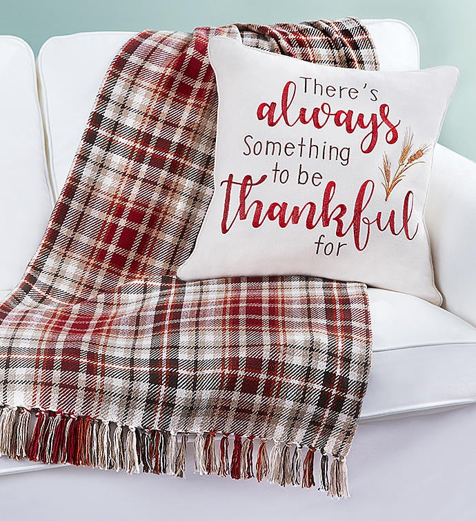 Always Thankful Pillow and Blanket Set