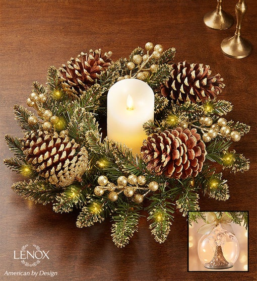 Glittery Gold Pine Centerpiece and Lenox® Wonderball