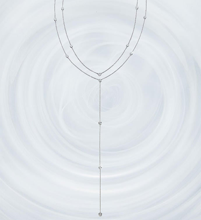 Crislu Adjustable Round Bezel Set Y Necklace