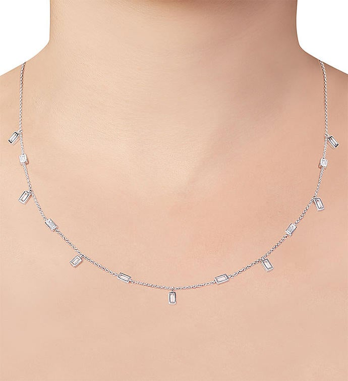 Crislu Prism Baguette Necklace-16""
