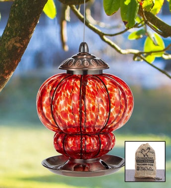 Hand Blown Art Glass Birdfeeder