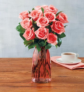 Pink Roses 12 Stems with Pink Vase