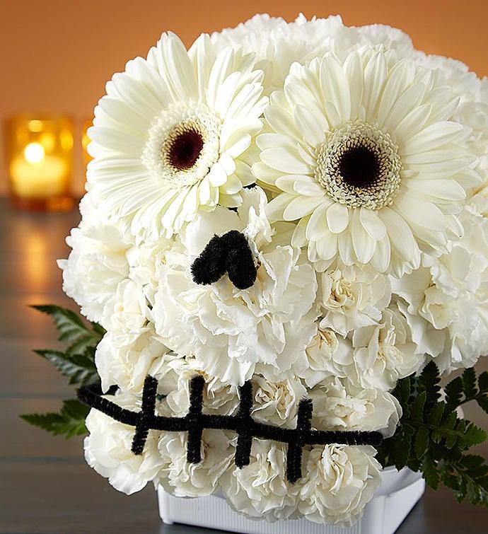 Spooky skull flower arrangement 1800flowers 159205 spooky skull flower arrangement 159205altview mightylinksfo