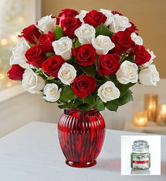 Peppermint Rose Bouquet + Free Candle