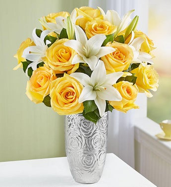 Fair trade certified yellow rose white lily 1800flowers 159655 fair trade certified yellow rose white lily mightylinksfo